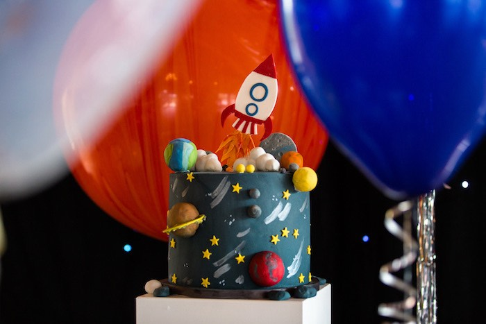 Space Themed Cake from an Outer Space Birthday Party via Kara's Party Ideas | KarasPartIdeas.com (11)