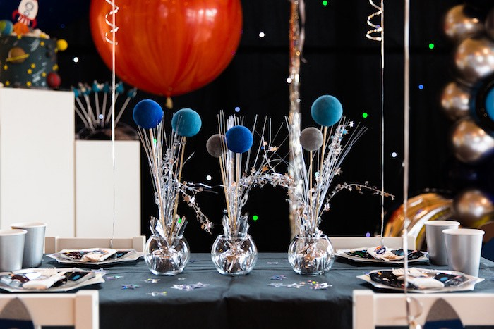 Space Themed Party Table from an Outer Space Birthday Party via Kara's Party Ideas | KarasPartIdeas.com (19)