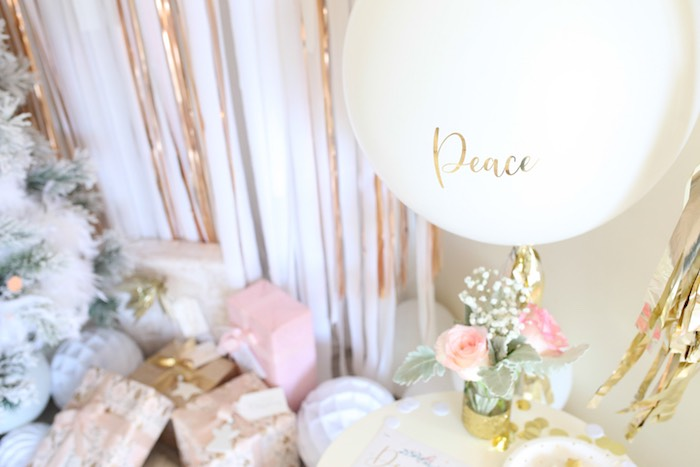 Peace Jumbo Balloon from a Pastel Glam Christmas Party for Kids on Kara's Party Ideas | KarasPartyIdeas.com (7)