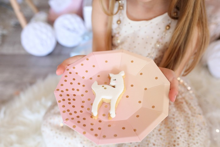 Deer Cookie from a Pastel Glam Christmas Party for Kids on Kara's Party Ideas | KarasPartyIdeas.com (4)
