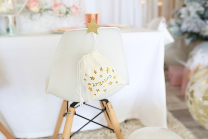 Star-studded Guest Chair from a Pastel Glam Christmas Party for Kids on Kara's Party Ideas | KarasPartyIdeas.com (17)