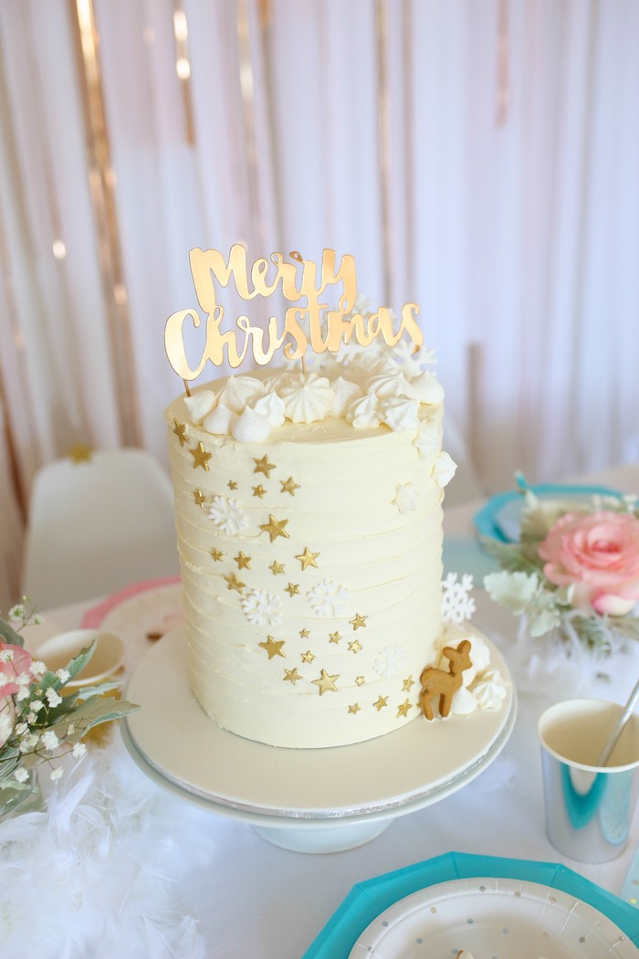 Star Cake from a Pastel Glam Christmas Party for Kids on Kara's Party Ideas | KarasPartyIdeas.com (16)