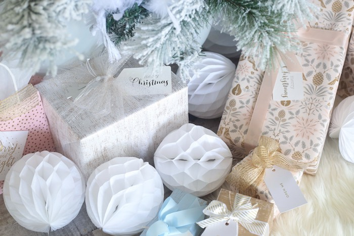 Gifts + Tissue Decoration from a Pastel Glam Christmas Party for Kids on Kara's Party Ideas | KarasPartyIdeas.com (15)
