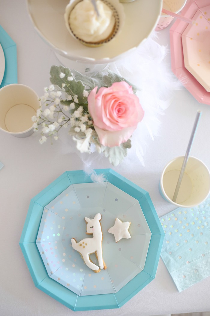 Table Setting from a Pastel Glam Christmas Party for Kids on Kara's Party Ideas | KarasPartyIdeas.com (14)