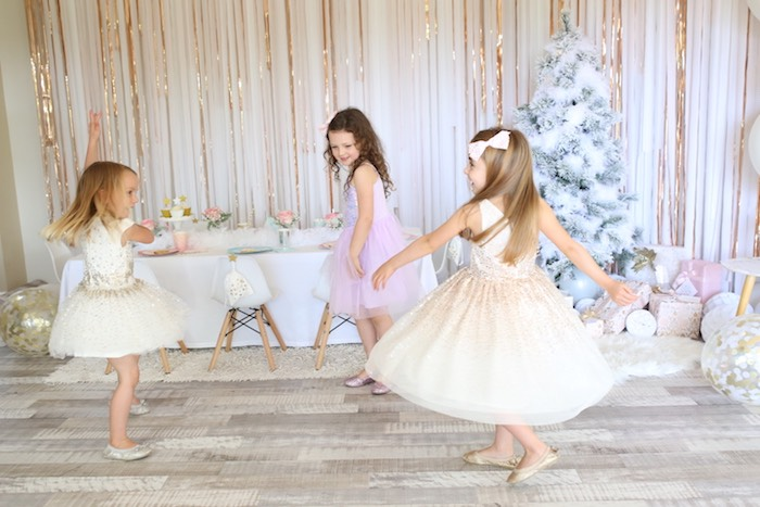 Dancing Girls from a Pastel Glam Christmas Party for Kids on Kara's Party Ideas | KarasPartyIdeas.com (11)