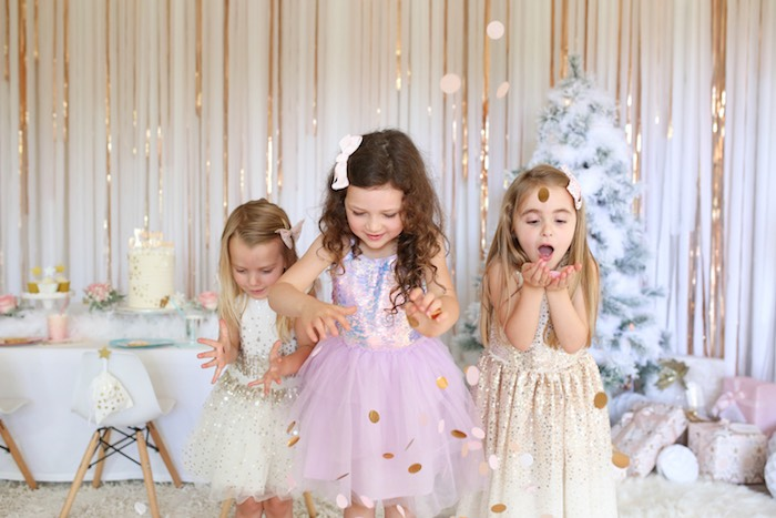 """Surprise"" from a Gold Confetti from a Pastel Glam Christmas Party for Kids on Kara's Party Ideas 