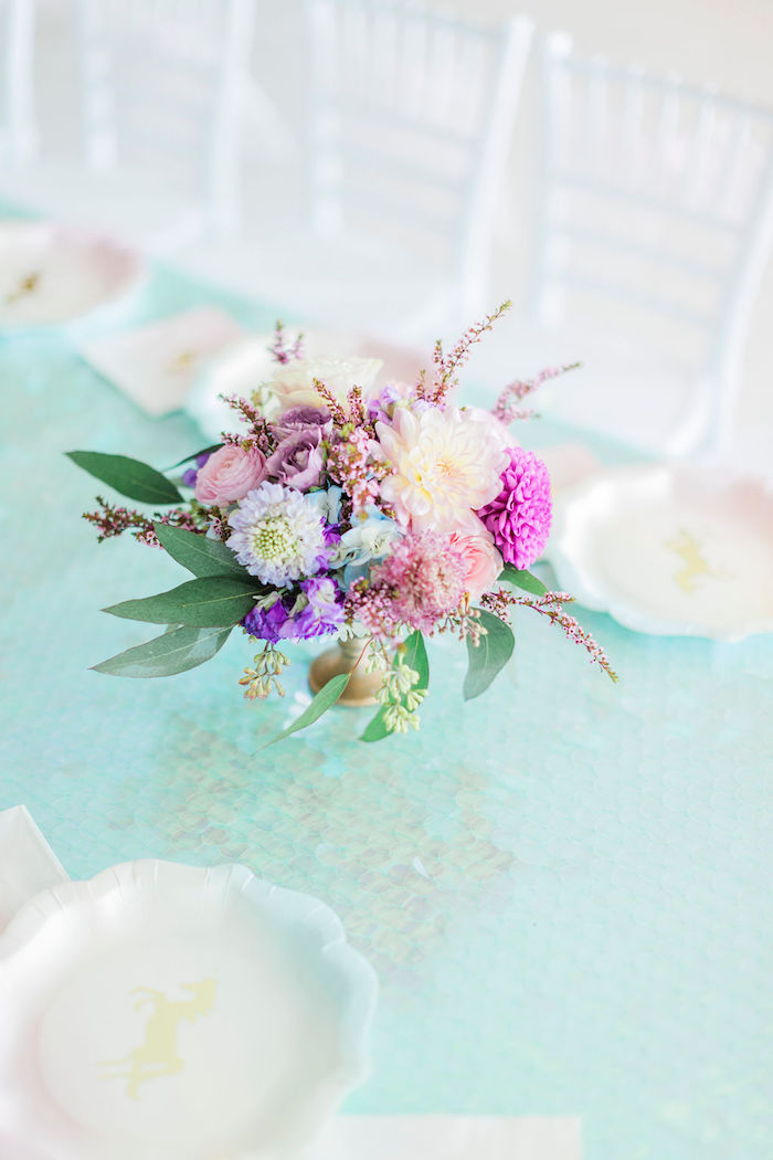 Iridescent Party Tablescape from a Pastel Glam Unicorn Birthday Party on Kara's Party Ideas | KarasPartyIdeas.com (29)
