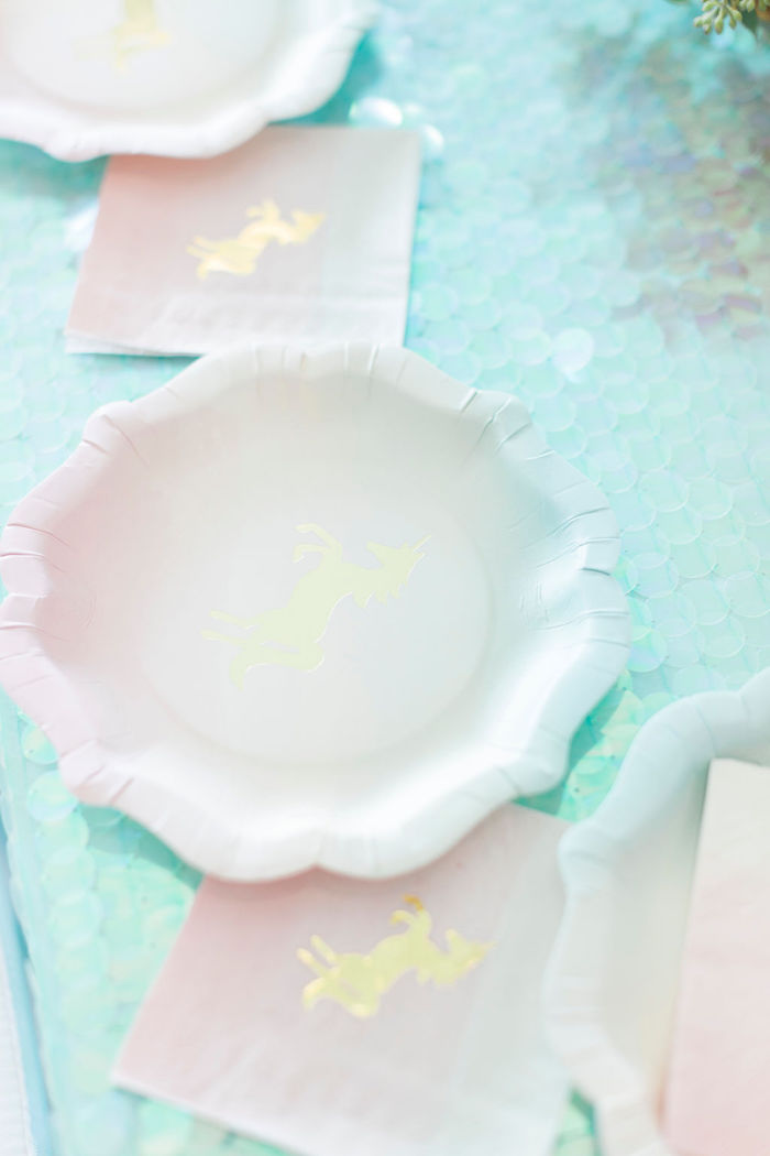Unicorn Plates + Napkins from a Pastel Glam Unicorn Birthday Party on Kara's Party Ideas | KarasPartyIdeas.com (28)
