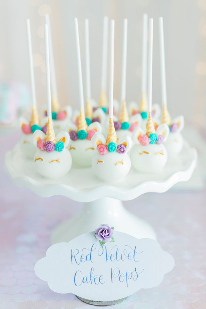 Unicorn Cake Pops from a Pastel Glam Unicorn Birthday Party on Kara's Party Ideas | KarasPartyIdeas.com (26)