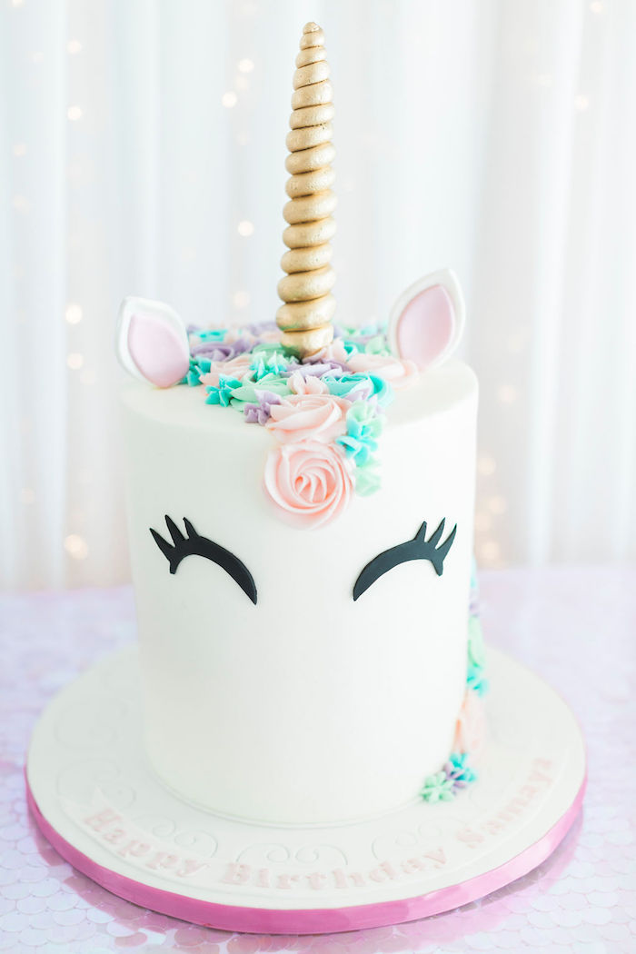 Unicorn Cake from a Pastel Glam Unicorn Birthday Party on Kara's Party Ideas | KarasPartyIdeas.com (24)