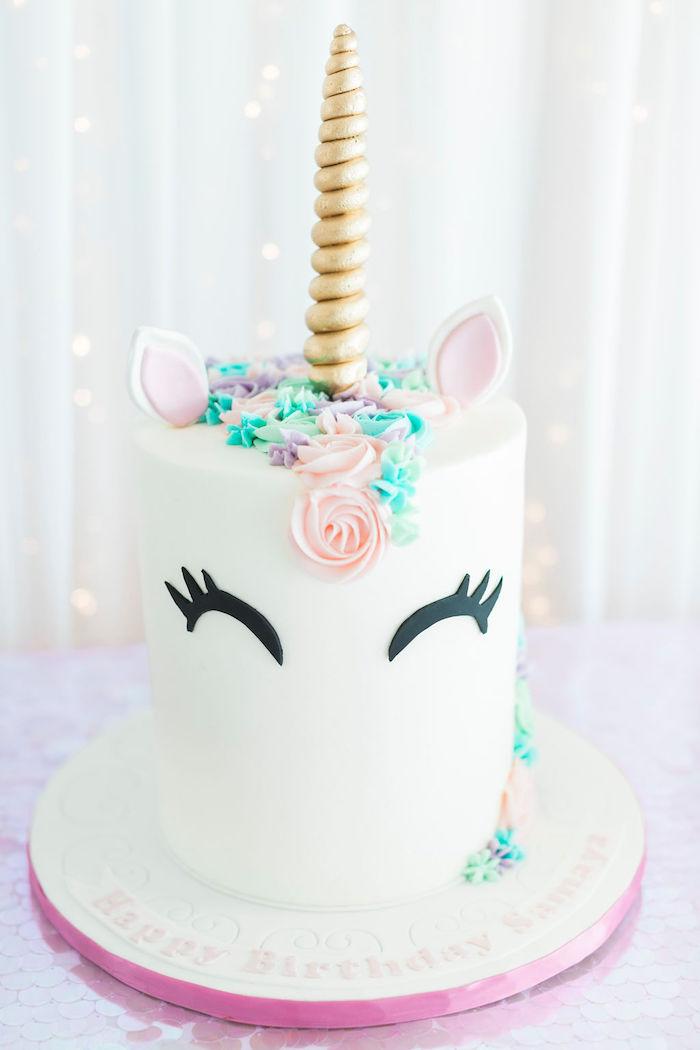 Unicorn Cake from a Pastel Glam Unicorn Birthday Party on Kara's Party Ideas | KarasPartyIdeas.com (24)