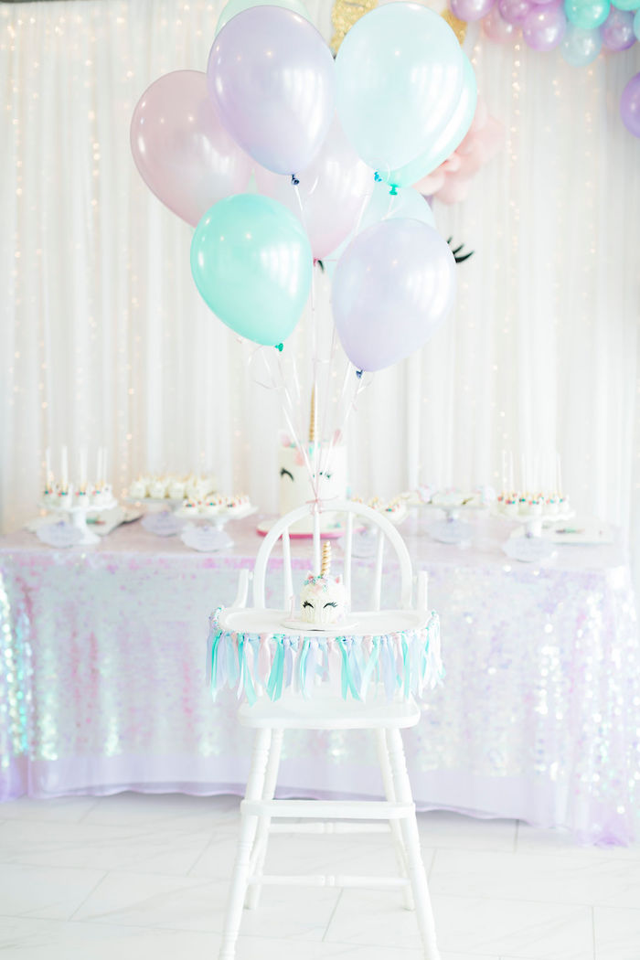 Unicorn Smash Cake + Highchair from a Pastel Glam Unicorn Birthday Party on Kara's Party Ideas | KarasPartyIdeas.com (22)