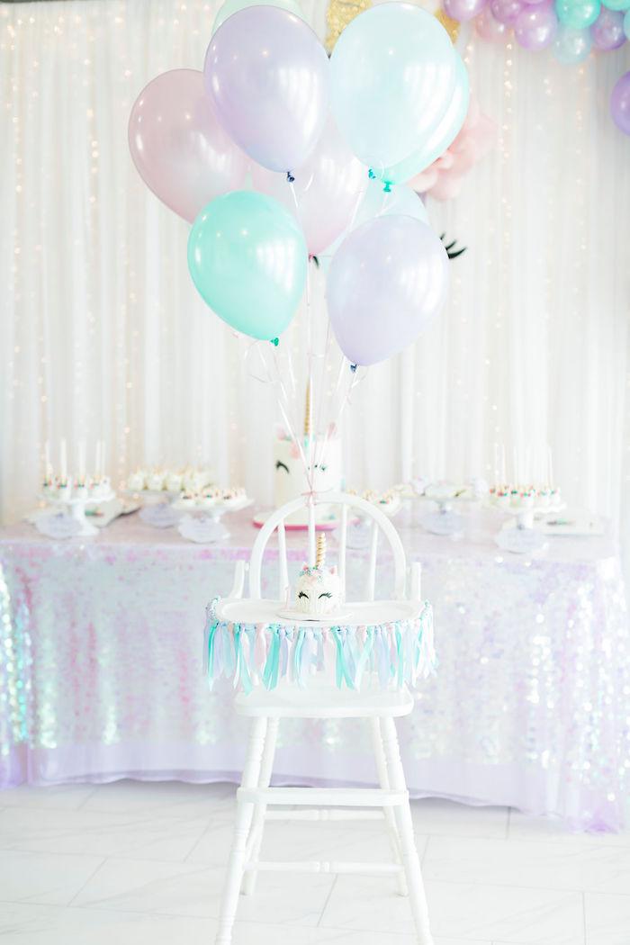 Unicorn Smash Cake + Highchair from a Pastel Glam Unicorn Birthday Party on Kara's Party Ideas | KarasPartyIdeas.com (22)