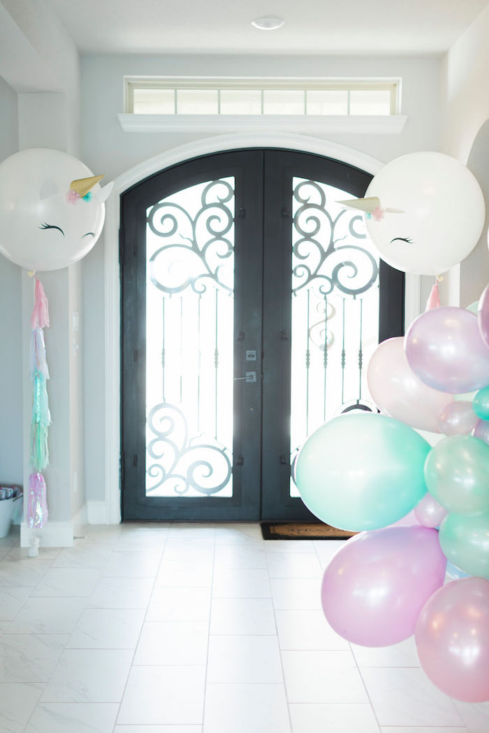 Unicorn Balloon + Party Entrance from a Pastel Glam Unicorn Birthday Party on Kara's Party Ideas | KarasPartyIdeas.com (20)
