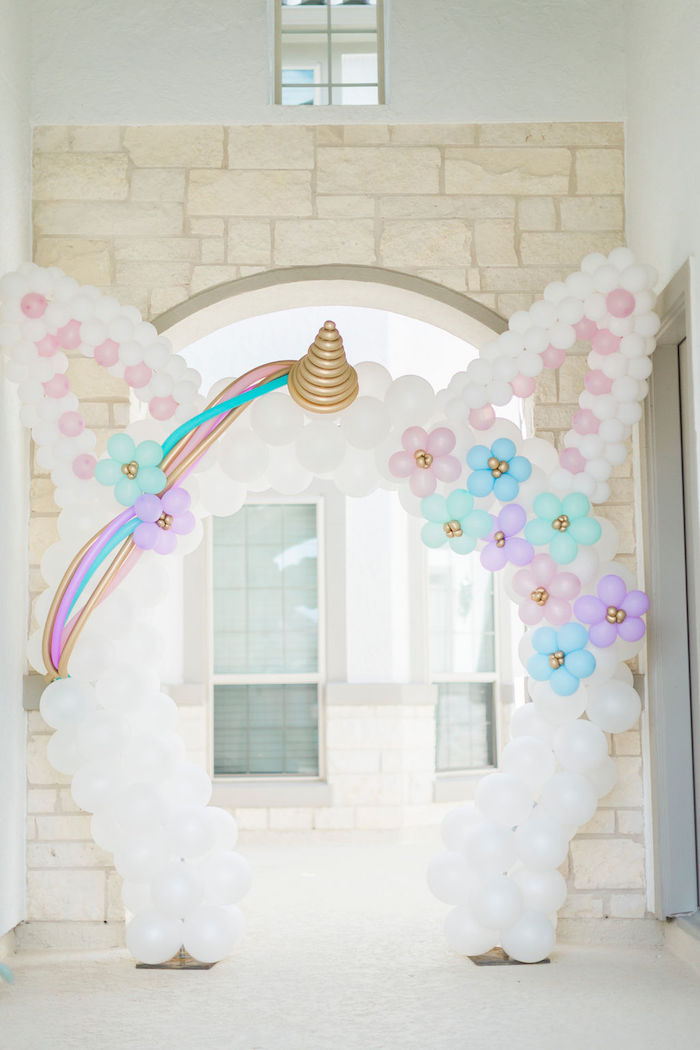 Unicorn Balloon Arch from a Pastel Glam Unicorn Birthday Party on Kara's Party Ideas | KarasPartyIdeas.com (38)