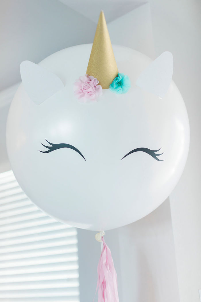 Jumbo Unicorn Balloon from a Pastel Glam Unicorn Birthday Party on Kara's Party Ideas | KarasPartyIdeas.com (19)