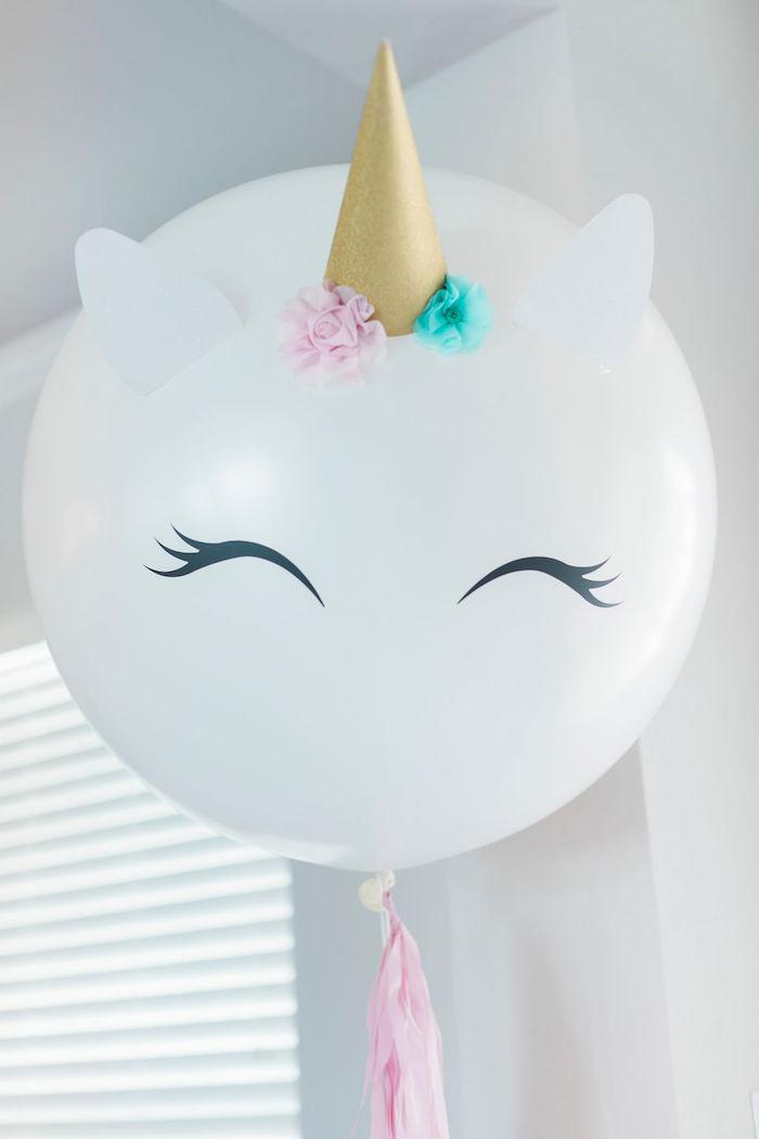 Jumbo Unicorn Balloon from a Pastel Glam Unicorn Birthday Party on Kara's Party Ideas | KarasPartyIdeas.com (19)