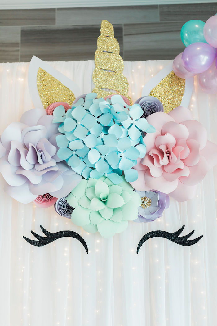 Paper Flower Unicorn Backdrop from a Pastel Glam Unicorn Birthday Party on Kara's Party Ideas | KarasPartyIdeas.com (18)