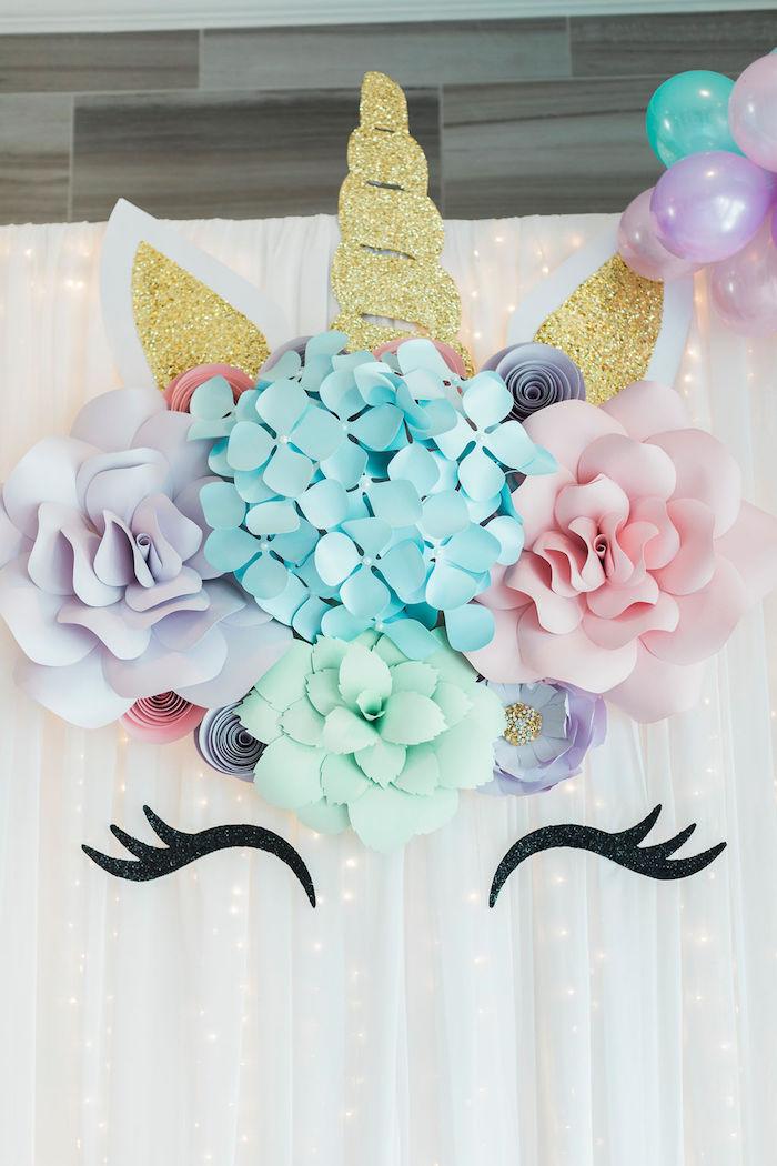 Paper Flower Unicorn Backdrop from a Pastel Glam Unicorn Birthday Party on Kara's Party Ideas | KarasPartyIdeas.com (18)