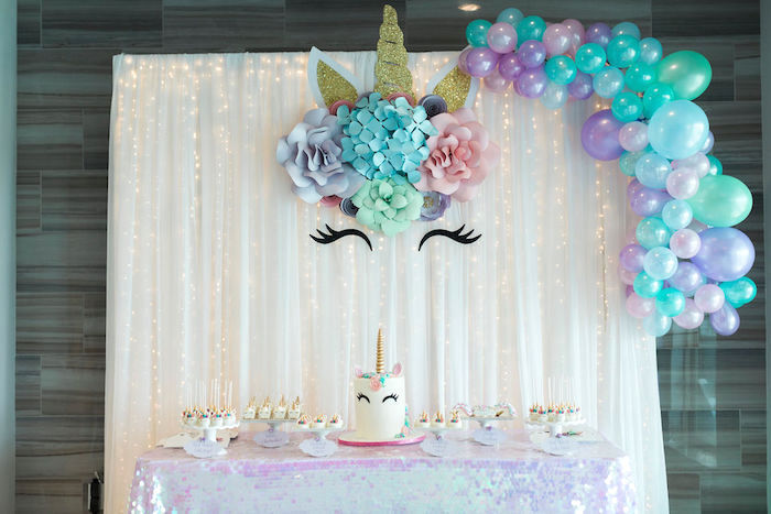 Unicorn Dessert Table from a Pastel Glam Unicorn Birthday Party on Kara's Party Ideas | KarasPartyIdeas.com (17)