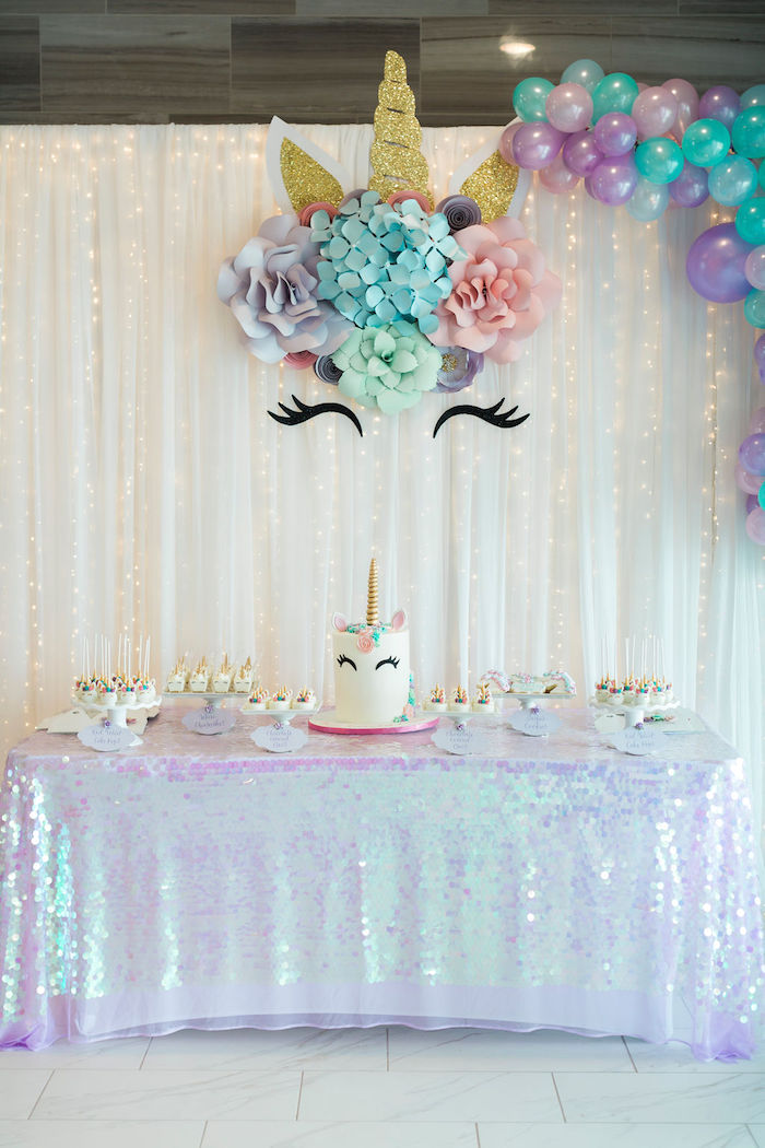 Unicorn Dessert Table from a Pastel Glam Unicorn Birthday Party on Kara's Party Ideas | KarasPartyIdeas.com (16)