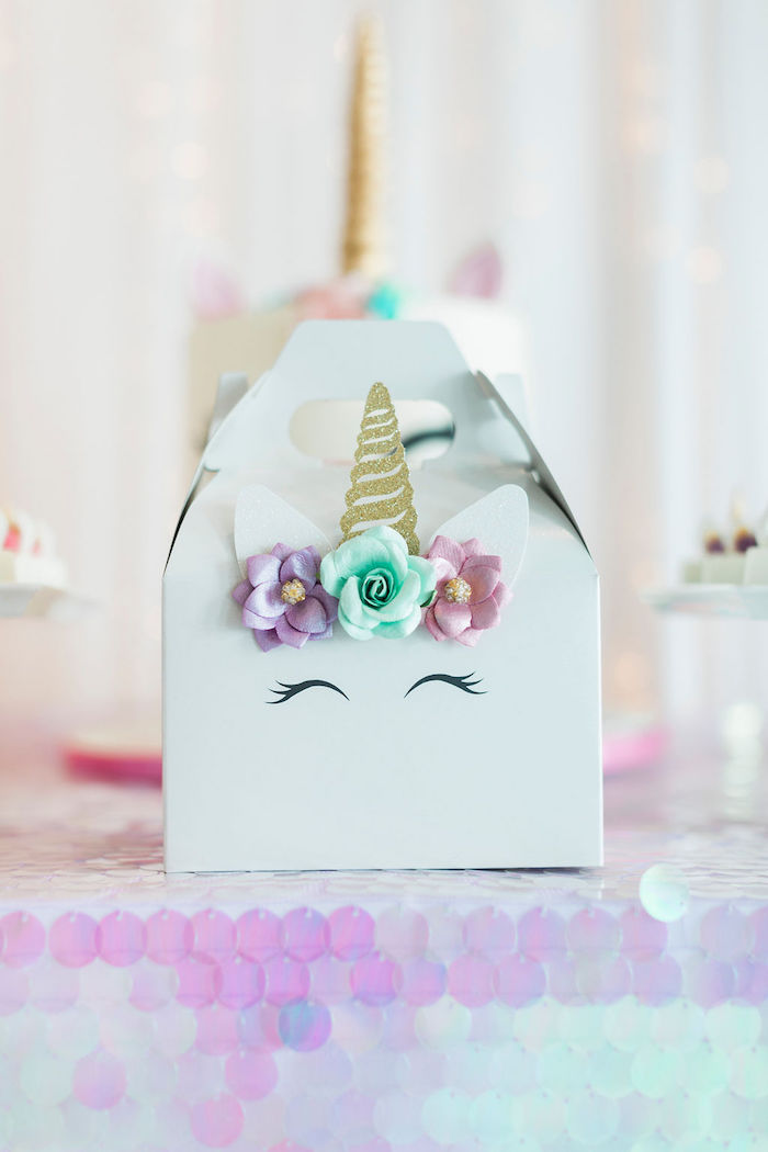Unicorn Gable + Lunchbox from a Pastel Glam Unicorn Birthday Party on Kara's Party Ideas | KarasPartyIdeas.com (15)