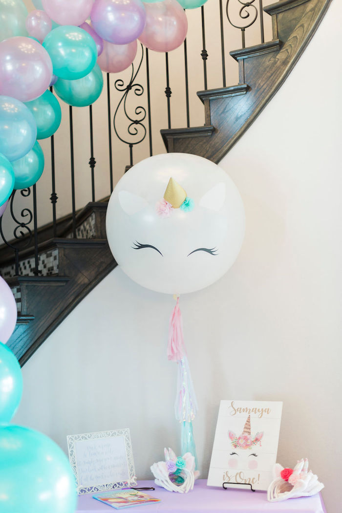 Unicorn Welcome Table from a Pastel Glam Unicorn Birthday Party on Kara's Party Ideas | KarasPartyIdeas.com (14)