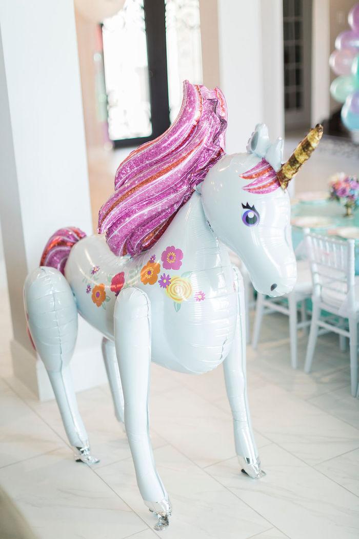 Mylar Unicorn Balloon from a Pastel Glam Unicorn Birthday Party on Kara's Party Ideas | KarasPartyIdeas.com (12)
