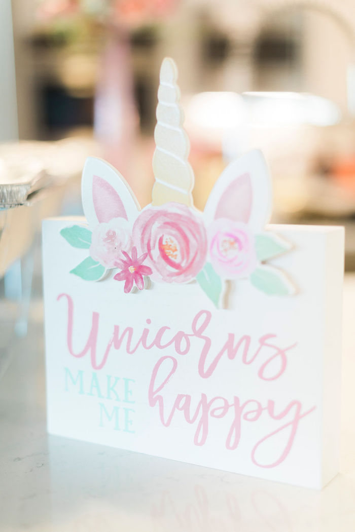 Unicorn Signage from a Pastel Glam Unicorn Birthday Party on Kara's Party Ideas | KarasPartyIdeas.com (11)