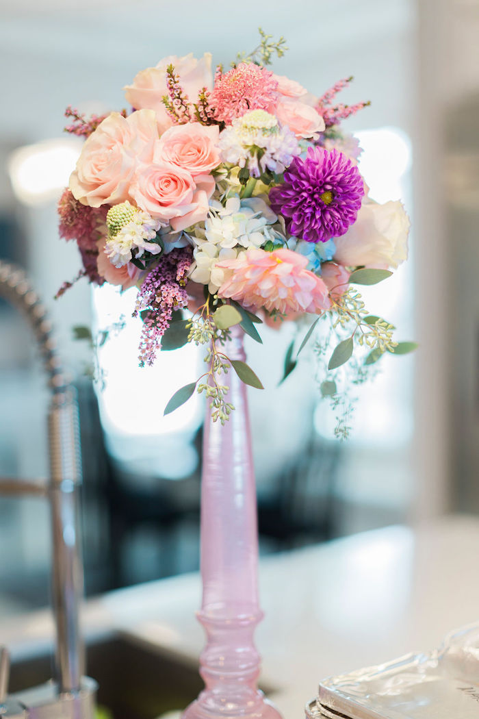 Floral Arrangement from a Pastel Glam Unicorn Birthday Party on Kara's Party Ideas | KarasPartyIdeas.com (10)