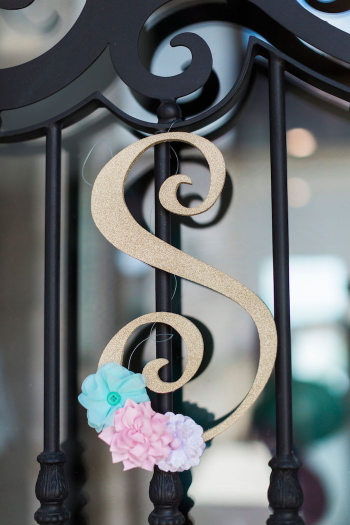Floral Gold Letter from a Pastel Glam Unicorn Birthday Party on Kara's Party Ideas | KarasPartyIdeas.com (37)