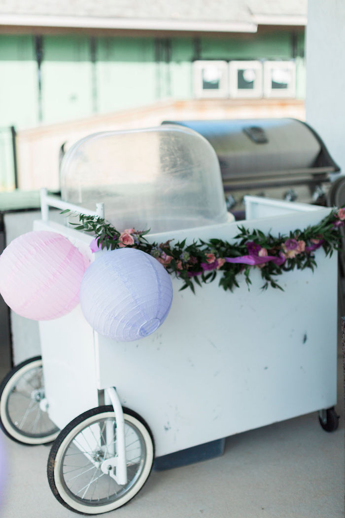 Cotton Candy Cart from a Pastel Glam Unicorn Birthday Party on Kara's Party Ideas | KarasPartyIdeas.com (9)