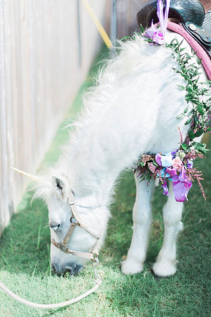 Unicorn Pony from a Pastel Glam Unicorn Birthday Party on Kara's Party Ideas | KarasPartyIdeas.com (8)