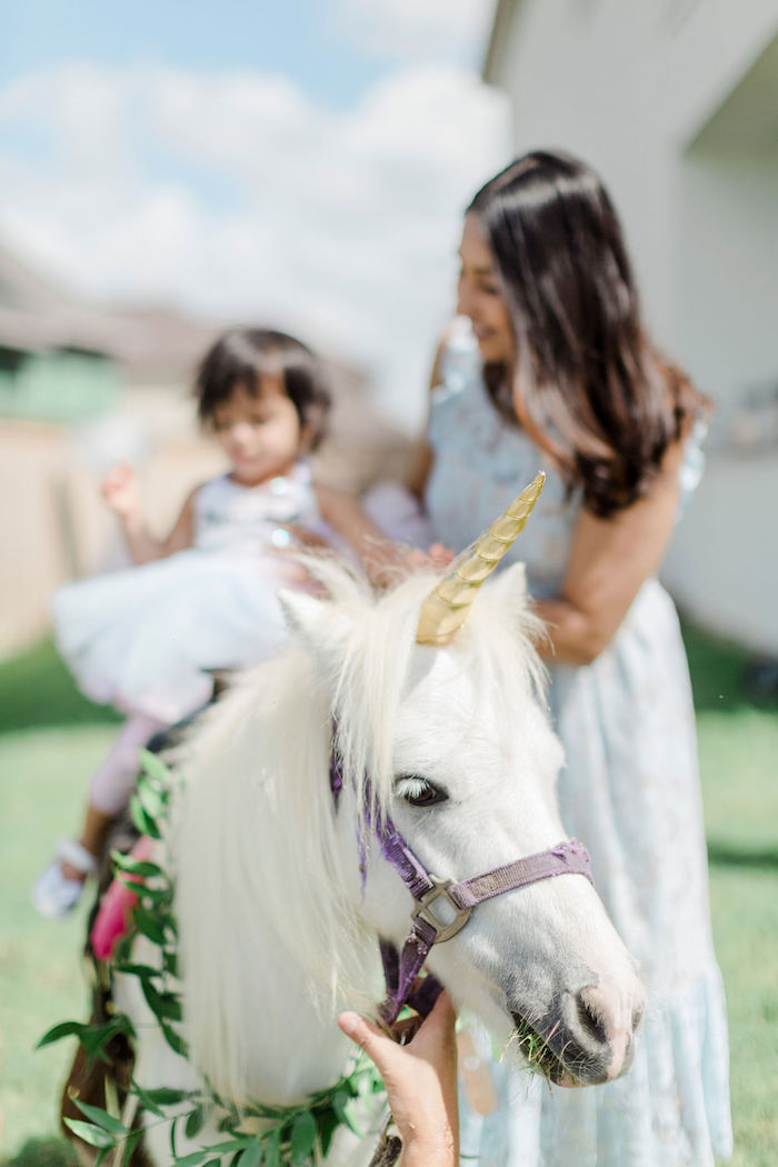 Unicorn Pony from a Pastel Glam Unicorn Birthday Party on Kara's Party Ideas | KarasPartyIdeas.com (7)