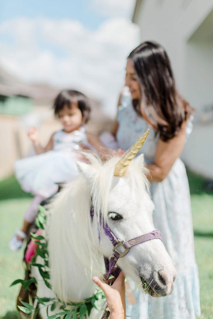 Unicorn Pony from a Pastel Glam Unicorn Birthday Party on Kara's Party Ideas | KarasPartyIdeas.com (7)