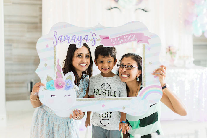 Unicorn Frame from a Pastel Glam Unicorn Birthday Party on Kara's Party Ideas | KarasPartyIdeas.com (6)