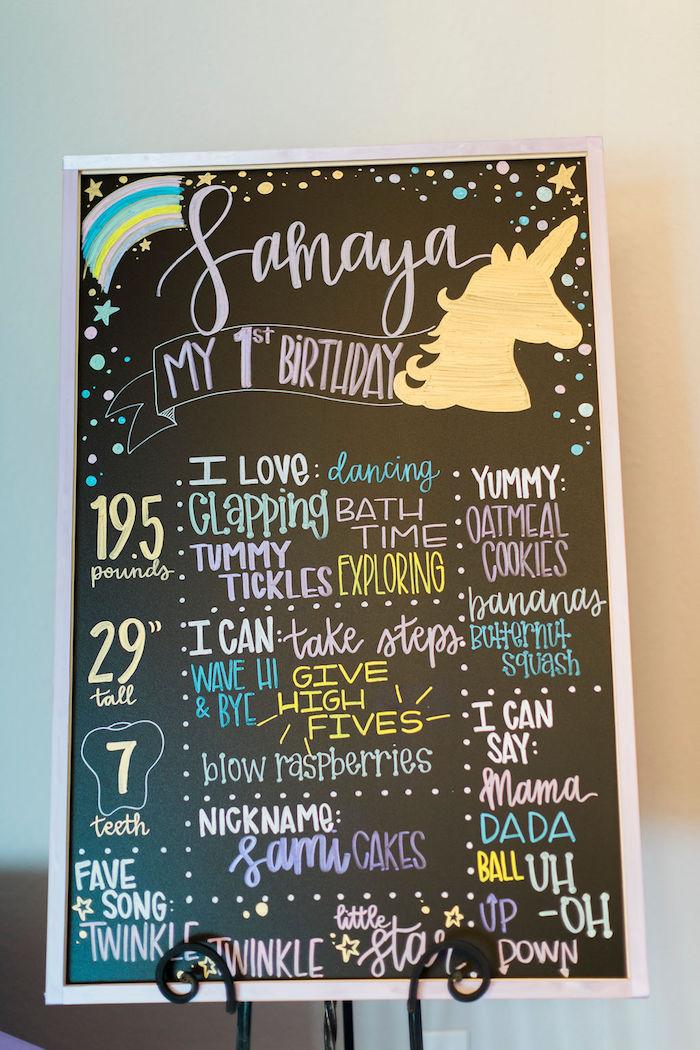 Unicorn Highlight Board from a Pastel Glam Unicorn Birthday Party on Kara's Party Ideas | KarasPartyIdeas.com (36)