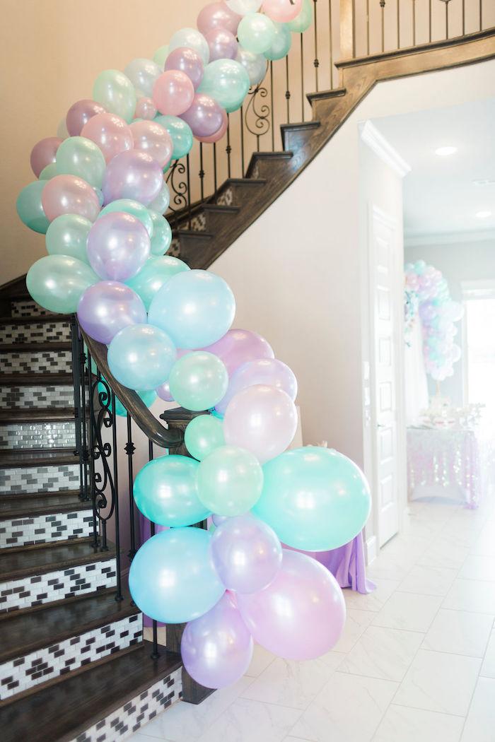 Blue, Purple & Pink Balloon Garland from a Pastel Glam Unicorn Birthday Party on Kara's Party Ideas | KarasPartyIdeas.com (34)