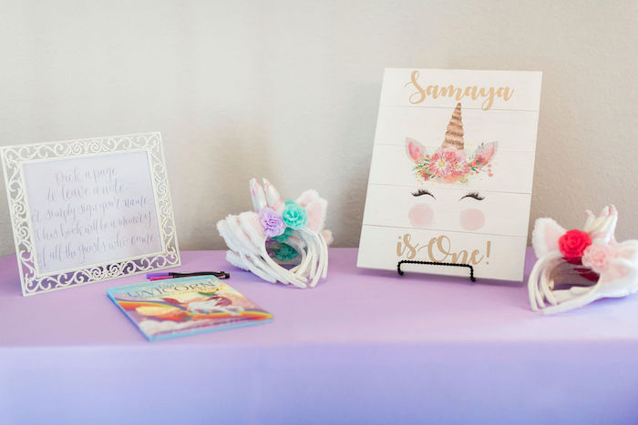 Unicorn Party Welcome Table from a Pastel Glam Unicorn Birthday Party on Kara's Party Ideas | KarasPartyIdeas.com (33)