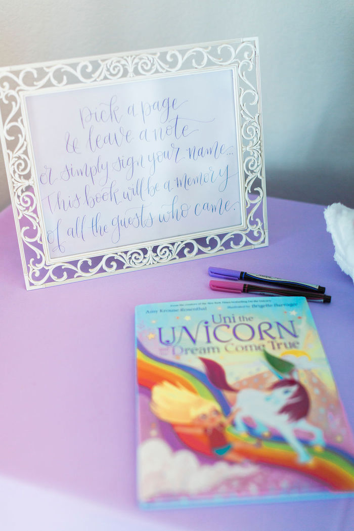 Unicorn Signing Book from a Pastel Glam Unicorn Birthday Party on Kara's Party Ideas | KarasPartyIdeas.com (32)