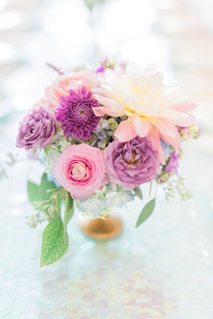Purple & Pink Florals from a Pastel Glam Unicorn Birthday Party on Kara's Party Ideas | KarasPartyIdeas.com (30)