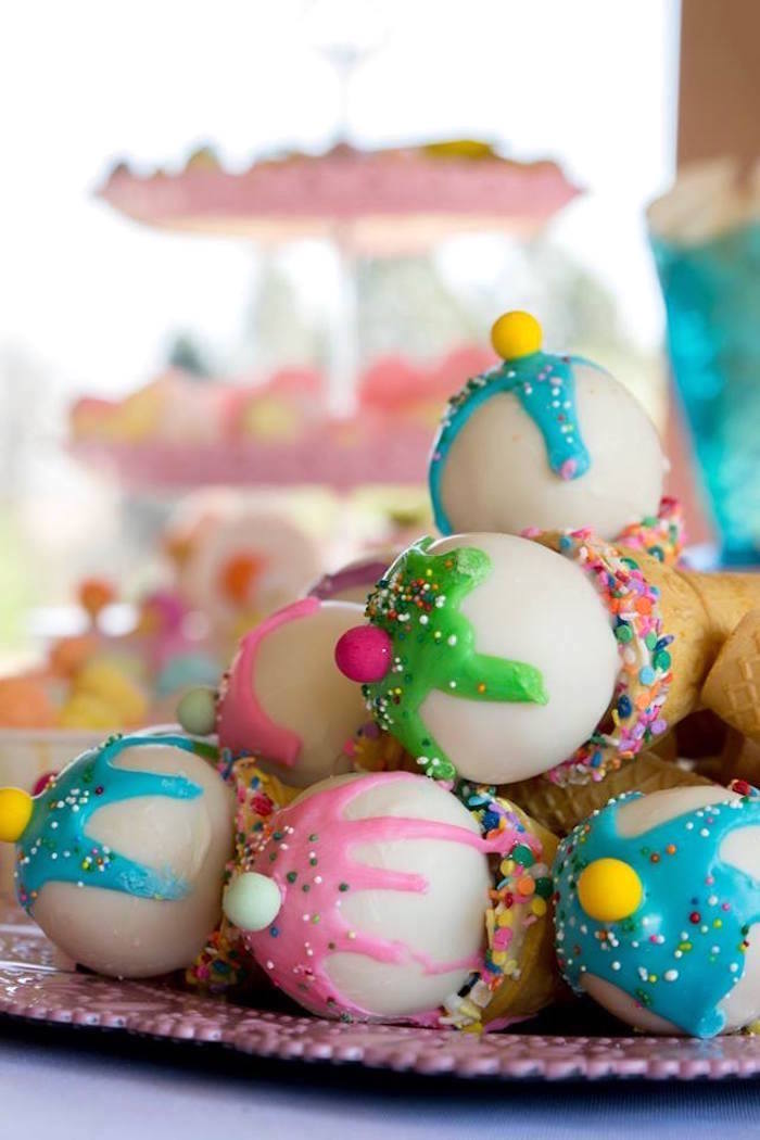 Ice Cream Cone Cake Pops from a Pastel Ice Cream Birthday Party on Kara's Party Ideas | KarasPartyIdeas.com (22)