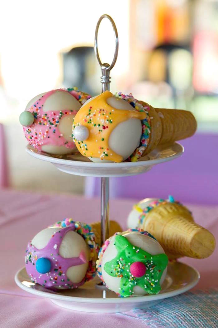 Ice Cream Cone Cake Pops from a Pastel Ice Cream Birthday Party on Kara's Party Ideas | KarasPartyIdeas.com (17)