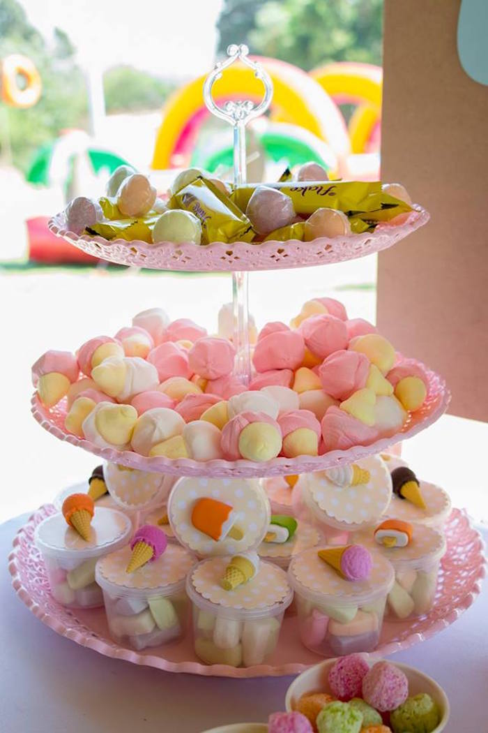 Dessert Pedestal Stand from a Pastel Ice Cream Birthday Party on Kara's Party Ideas | KarasPartyIdeas.com (16)