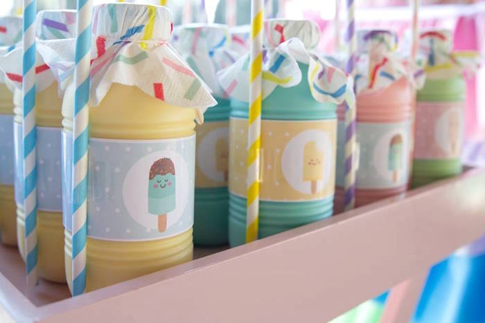 Pastel Ice Cream Labeled Drinks from a Pastel Ice Cream Birthday Party on Kara's Party Ideas | KarasPartyIdeas.com (8)