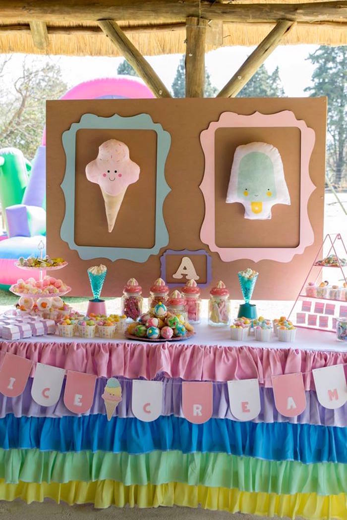 Ice Cream Themed Dessert Table from a Pastel Ice Cream Birthday Party on Kara's Party Ideas | KarasPartyIdeas.com (30)