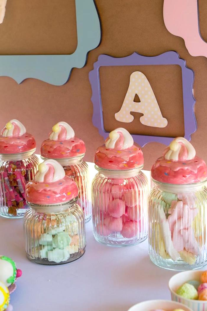 Ice Cream Themed Candy Jars from a Pastel Ice Cream Birthday Party on Kara's Party Ideas | KarasPartyIdeas.com (29)