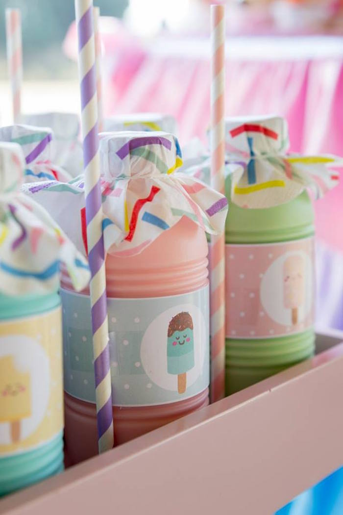 Ice Cream Themed Beverage Bottles from a Pastel Ice Cream Birthday Party on Kara's Party Ideas | KarasPartyIdeas.com (28)