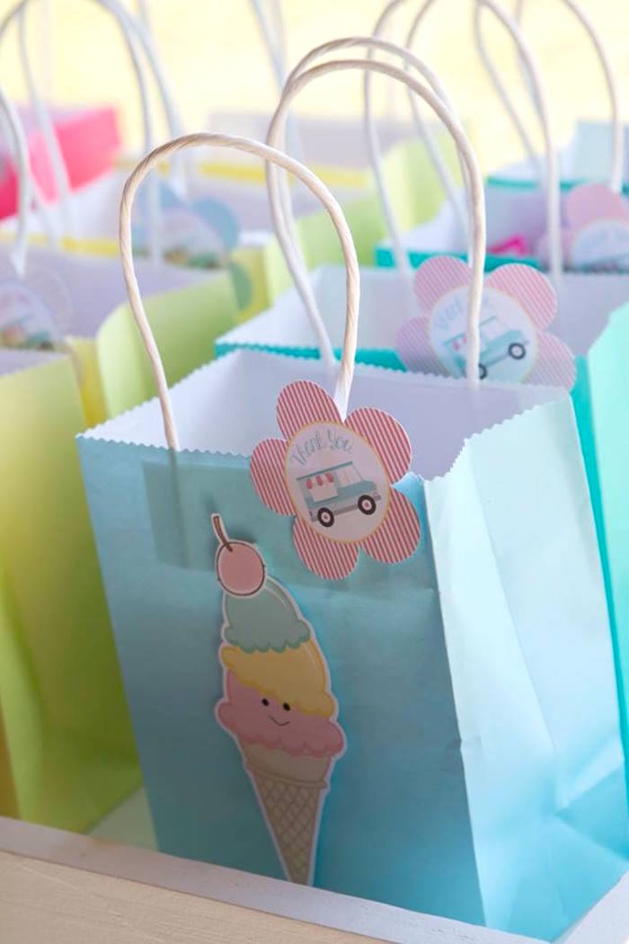 Ice Cream Themed Favor Bag from a Pastel Ice Cream Birthday Party on Kara's Party Ideas | KarasPartyIdeas.com (27)