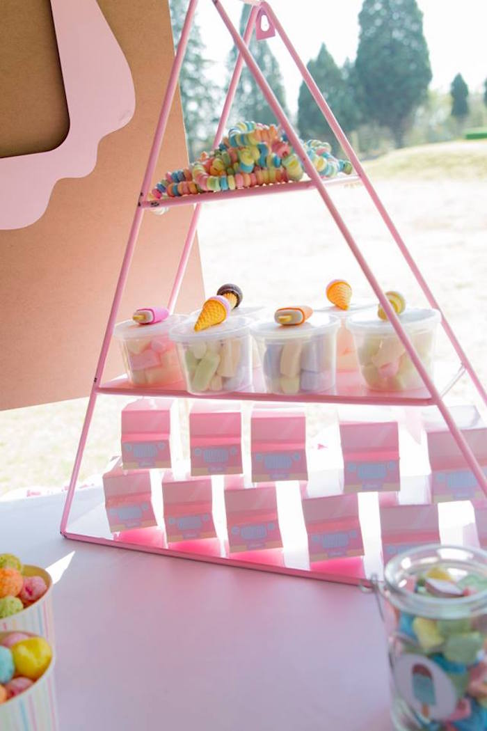 Pink Triangle Candy Shelf from a Pastel Ice Cream Birthday Party on Kara's Party Ideas | KarasPartyIdeas.com (25)